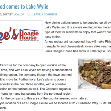 Hoagies and Cheesesteaks Come to Lake Wylie
